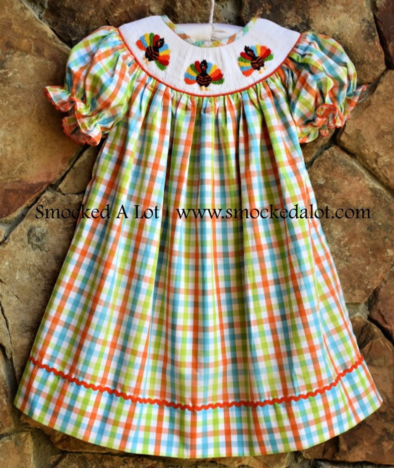 Smocked A Lot Christmas Monogrammed Green Red Gingham Ruffle Pants Set Dress