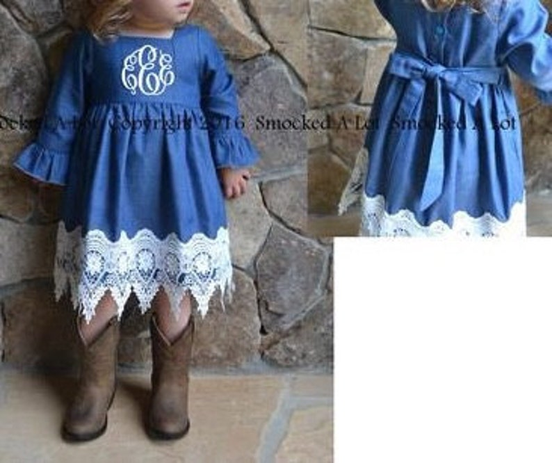 Smocked A Lot Girl Dress Denim /& Lace Monogrammed Fall Thanksgiving Best-Seller