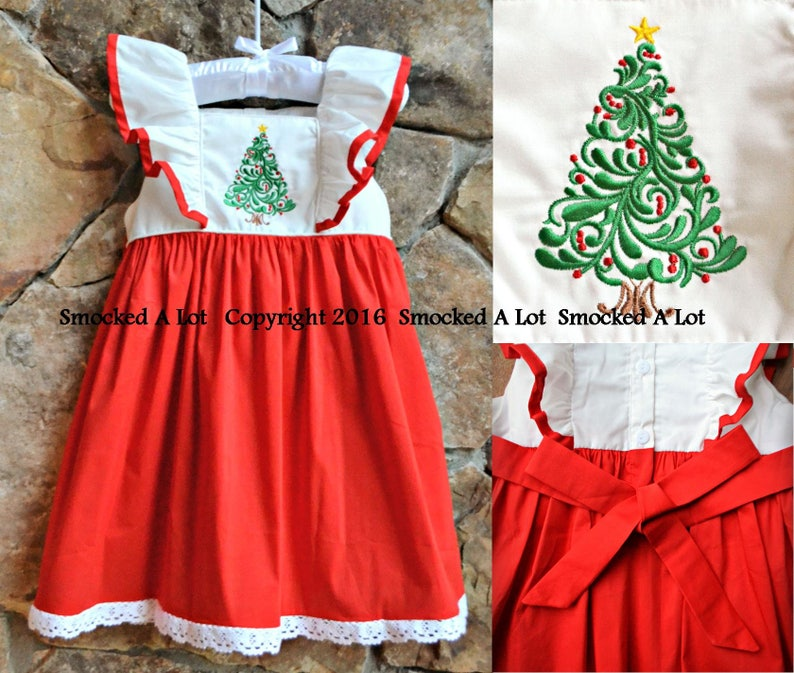 Girls Oh Christmas Tree dress red white ruffled sash image 0