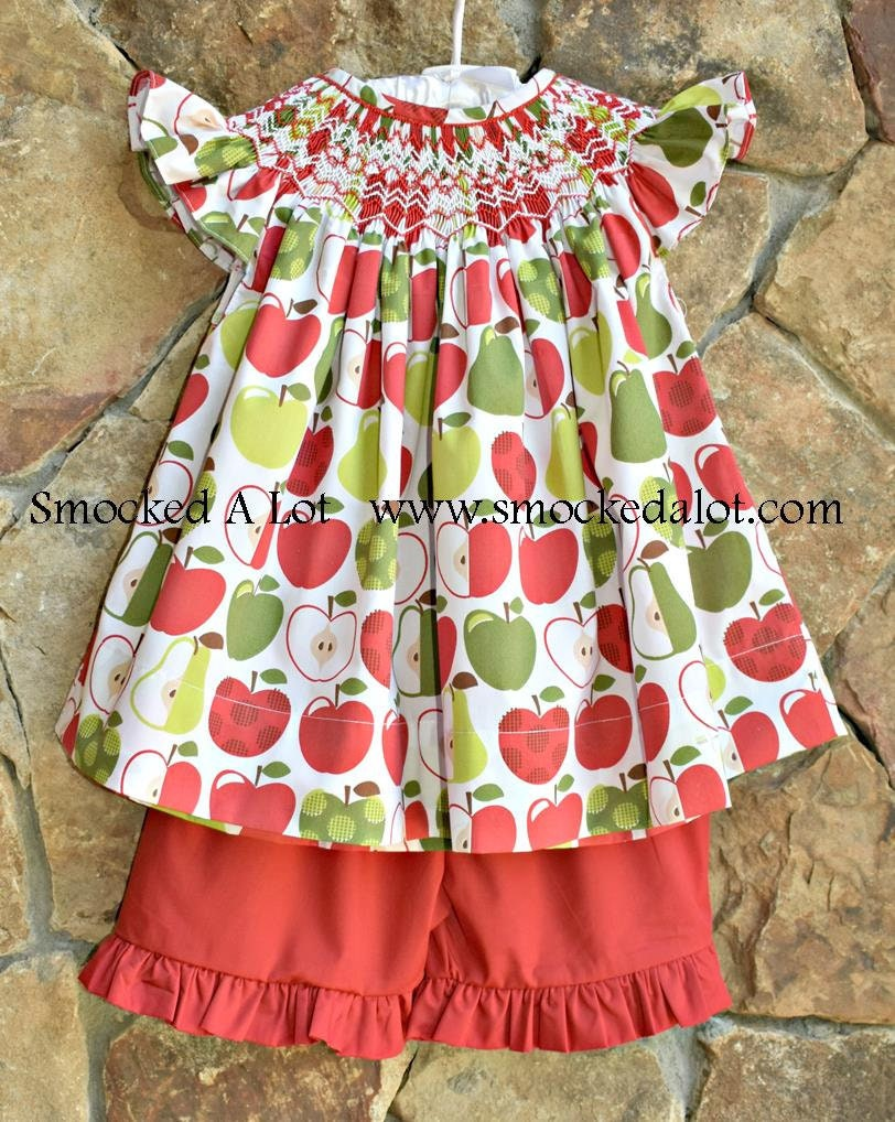 f998b6badf790 Girls Smocked Apple shorts set back to school first day of school. red  green Apples Fabric! outfit dress bishop