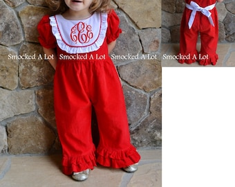 Girls Christmas Red Solid Bib Monogrammed Long Romper Jumper Bubble Ruffled Smocked Dress Santa Tree