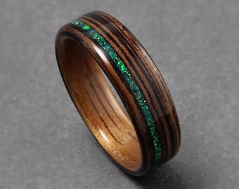 Wenge Turquoise Inlay Womens Engagement Wood Ring Anniversary Bentwood Mens Wood Wedding Ring