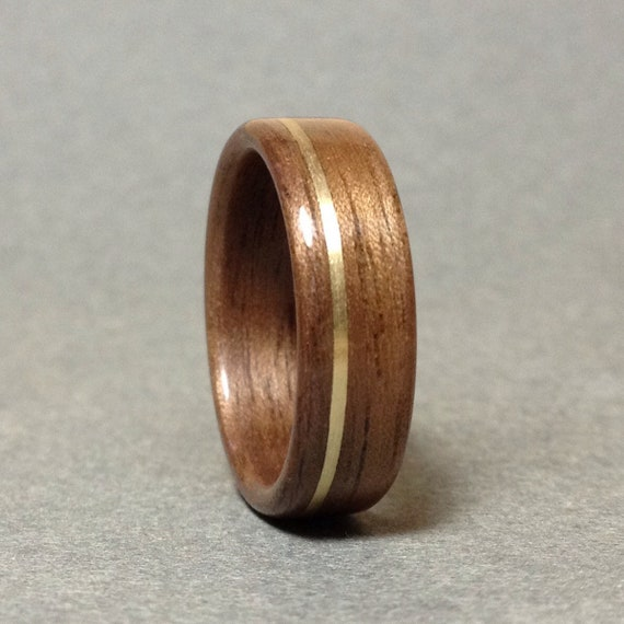 Bentwood Ring Mens Wooden Ring Sepele inlay copper Brass Handmade Ring Custom Wedding Band Ring Womens Wooden Ring