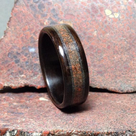 Campo Del Cielo Meteorite Meteorite /& Macassar Ebony Wooden Ring Bentwood