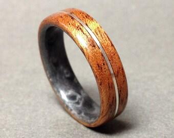 Bentwood Ring, Mahogany Silver Grayed Maple Wood Ring, Men's Wood Ring, Woman's Wood Ring