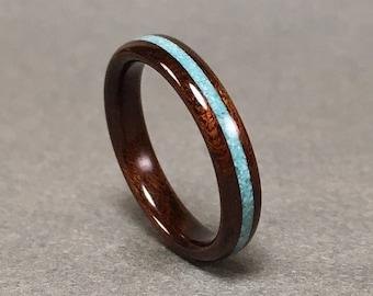 Etimoe wood ring with turquoise, Etimoe bentwood ring with sleeping beauty turquoise, Wood Ring Turquoise