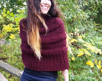 Knit poncho Womens poncho, Deep wine colored American made hand knit sweater and poncho, striped poncho with turtleneck