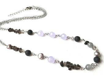 Lava Diffuser Necklace with Smoky Quartz, Freshwater Pearl & Glass / Hypoallergenic Aromatherapy Necklace / Oil Bead Diffusing Necklace