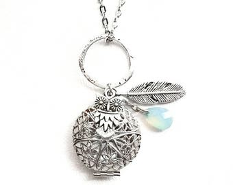 Aqua Drop Owl and Feather Diffuser Necklace Silver / Aromatherapy Necklace / Essential Oil Diffusing Necklaces / Diffusing Oil Gift-for-Her