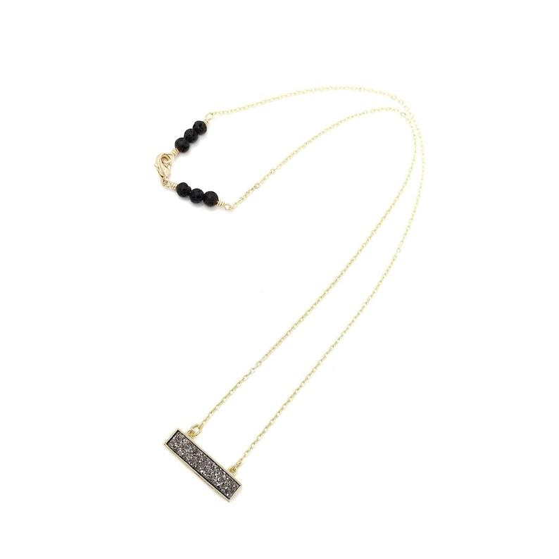Dainty Druzy Bar Necklace  Crystal Necklace  Petite Bar Necklace Diffuser  Essential Oil Diffusing Jewelry Minimal Druzy Quartz Gemstone