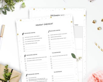 Printable Christmas Planner 2017 / Holiday Organiser • A4 and US Letter • Minimalistic & Stylish