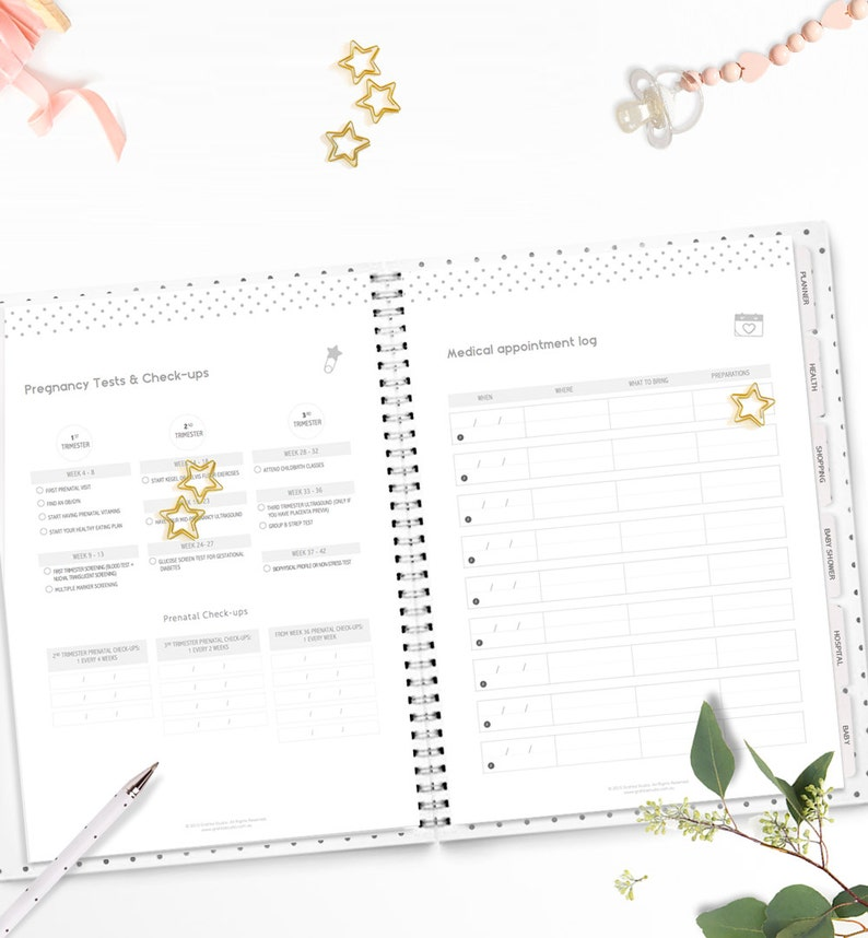 photograph relating to Printable Pregnancy Journal identified as Printable Being pregnant Kid Planner Being pregnant magazine Mum in direction of be present  Kid Shower Planner Boy or girl Organizer
