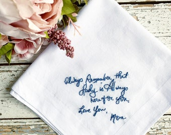 Wedding gift for parents, Custom wedding handkerchief, Custom handwriting pocket square, Mother and Father Of The Bride