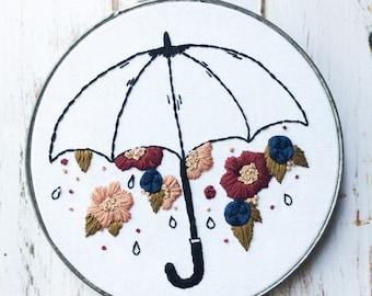 Floral Embroidery Hoop art Umbrella Wall Hanging Hand Embroidery hoop Wildflower embroidery Nursery Embroidery Art Umbrella Embroidery