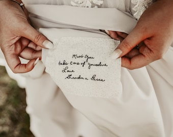Bridal Gift For Bride Custom Handwriting Embroidery For Dress Bridal Gift For Sister Memorial Handwriting