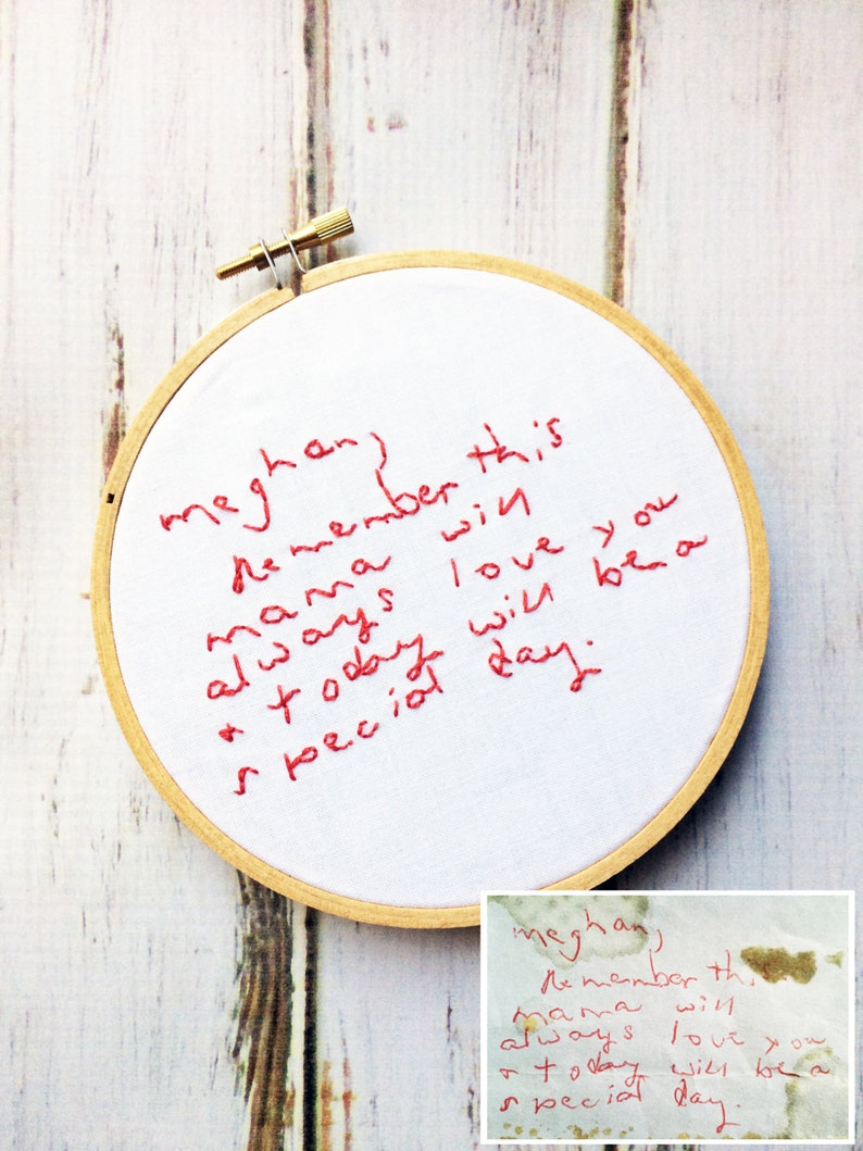 Custom Handwriting Embroidery Actual Handwriting Gift image 0
