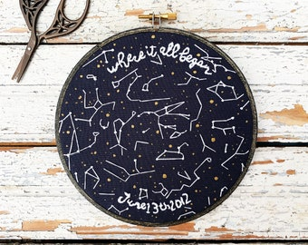 Custom star map, Star map by date embroidery, custom constellation map of your special date, constellation by date and location