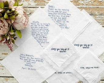 Custom embroidery handkerchief wedding, wedding handkerchief for bride, something blue handkerchief, custom handwriting gift