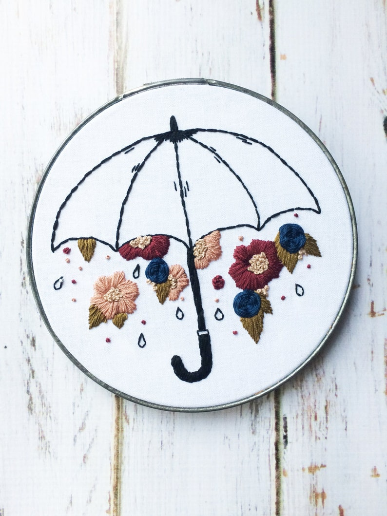 Floral Embroidery Hoop art Umbrella Wall Hanging Hand image 0