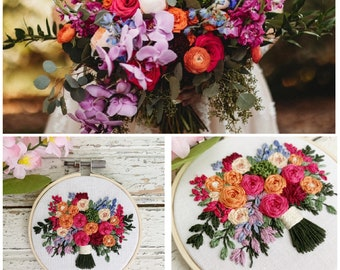 Wedding Bouquet preservation, gift for new bride, mini embroidered bouquet