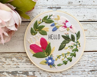 Motivational embroidery sign, Hello embroidery with bright and colorful flowers