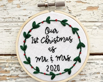 Our first Christmas as mr and mrs ornament, first Christmas married embroidered ornament