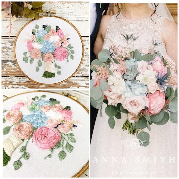 Wedding Bouquet Embroidery Custom Bridal Bouquet Wedding Etsy