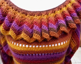 Sechseck Häkeln Weste Mehrfarbigen Häkeln Pullover Exklusive Etsy
