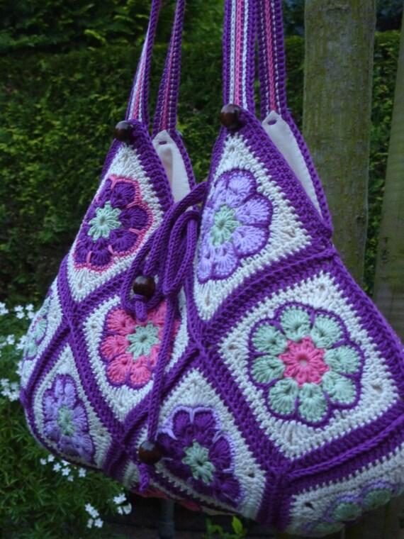 Afrikanische Blume Häkeltasche Baumwoll Tasche Häkeln Blumen Etsy