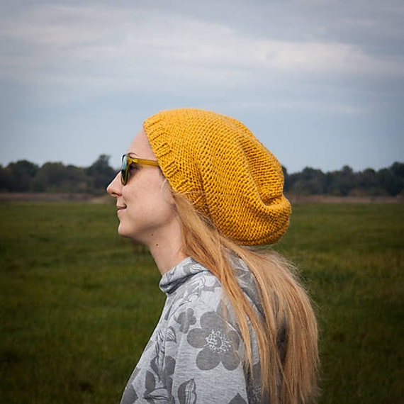 90917ae6a54 Mustard Yellow Slouchy Beanie Hat   Yellow Urban Style Hand