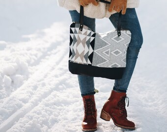 4ef94cf28c42ba Items similar to Mercer Tote in Pendleton® wool and leather by Meant ...