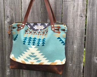 bca810d87e3bae Mercer Tote in Pendleton® wool and leather by Meant Mfg.