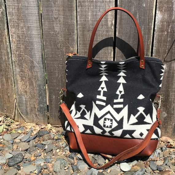 3a73f2de1df38d Tuamlo Tote in Pendleton® wool and leather by Meant Mfg. | Etsy