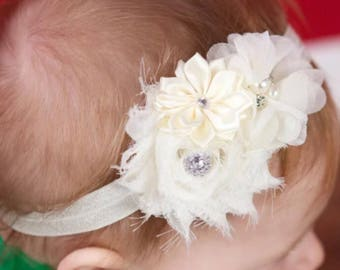 Vintage Headband, Baby Headband, Newborn Headband, Newborn Photos, Newborn Baby Headband, Newborn Photo Op, Ivory Baby Headband, Baby Girl