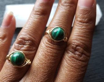 Malachite Ring/Malachite crystal ring/Malachite jewelry