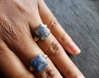 Lapis Lazuli Ring/Lapis Lazuli Crystal Ring/Lapis Lazuli Square beaded Ring/Handmade jewelry Rings