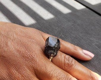 Raw Black Tourmaline Ring/Protection Ring/Black Tourmaline Ring/Handmade jewelry Rings