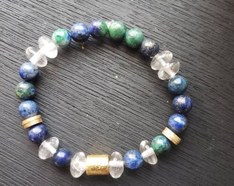 Chrysocolla Clear Quartz Bracelet/ Beaded Chrysocolla bracelet