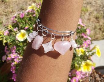 Rose Quartz Charm bracelet/Bracelets for Women/ Crystal charm bracelet/Expandable Bracelet/Heart chakra healing bracelet/ Handmade charms