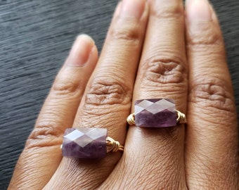 Amethyst Ring/Amethyst wire wrapped ring/Amethyst stone ring