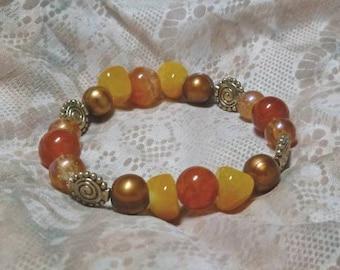Summer Gold, Orange, & Copper Stretch Bracelet with Gemstones and Pearls  (232923577)