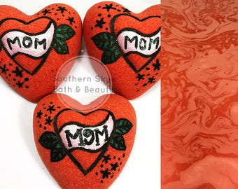 Mothers Day| Bath Bomb| Red| Heart| Tattoo| Gift Ideas| Gift for Her| Ready to Ship| Bad Mom Tattoo Bomb