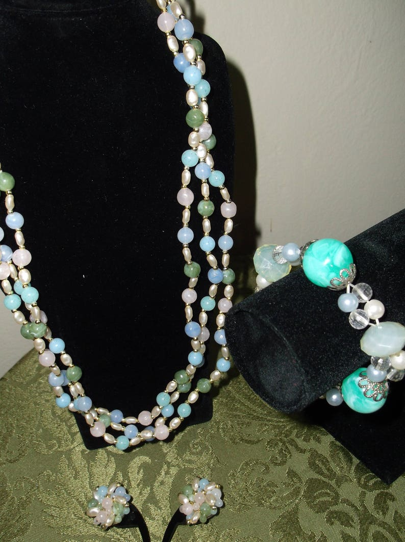 59eaef295596d Beautiful Pastel Colors And Pearls Jewelry Set Necklace,Post  Earrings,bracelet
