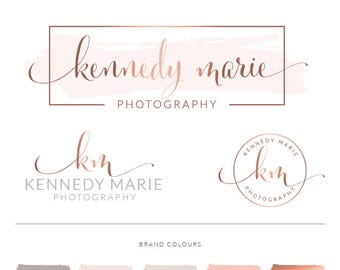 Rose Gold Photography Logo Branding Kit, Blush Wedding Photographer Marketing Set, Calligraphy Stamp Photo Watermark Boutique, 060