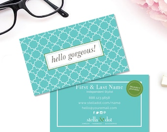 Stella and dot etsy hello gorgous style stella dot blue green modern boutique business cards premade calling card colourmoves