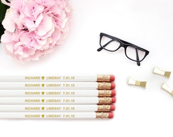 Personalized Pencils / Love Heart CUSTOM Bride Groom Names Personalized Pencils / Wedding White Gold Foil Engraved Pencil Set Wholesale