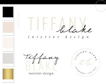 Pink Black Modern Script Logo Design, Custom Logo Design, Business Logo, Creative logo, Logo Design Service, Photography Logo, Shop Logo 085