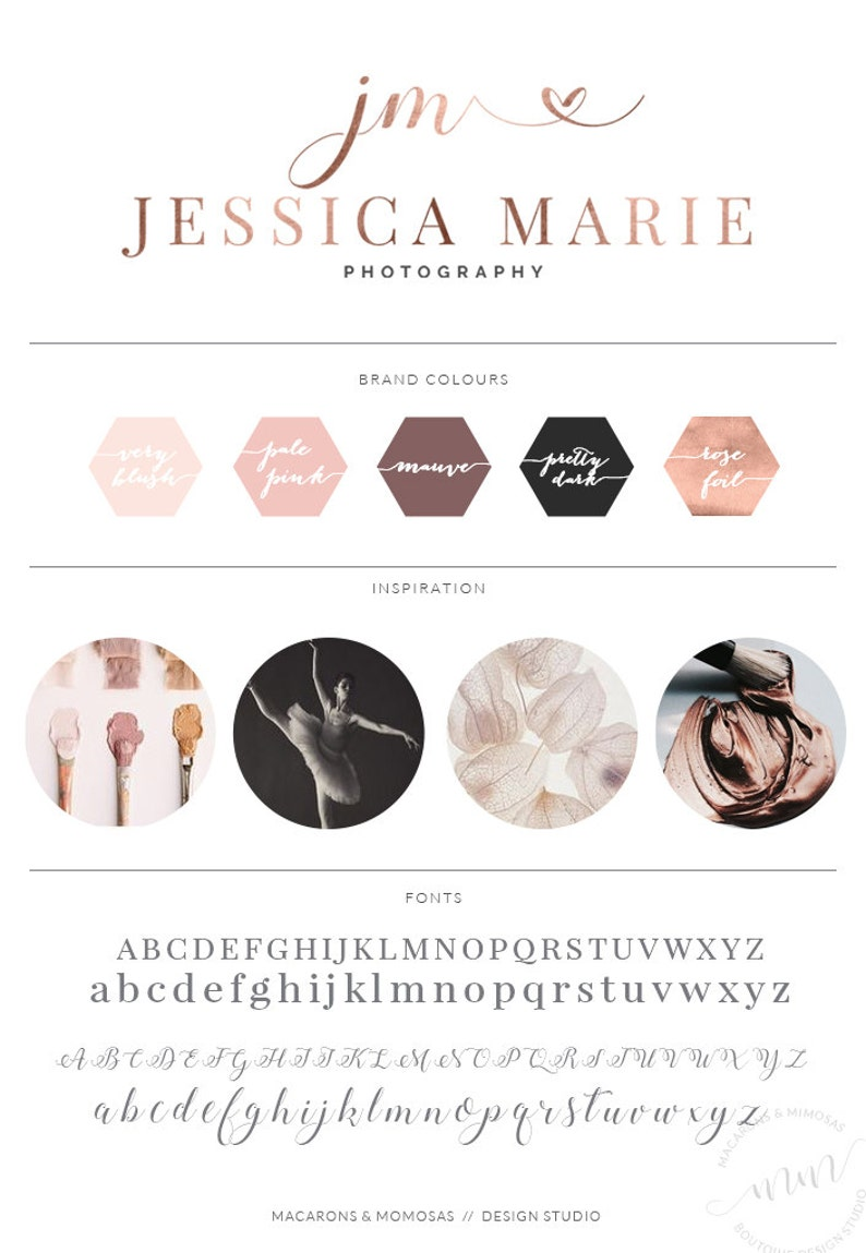 Rose Gold Foil Calligraphy Heart Photography Boutique Logo Design /  Photographer Photoshop PSD Download / 007