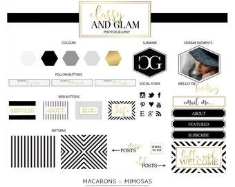 66 pièces or noir rayure en nid d'abeille Logo Blog relooking + Kit Branding + Blog Kit + site Web Design Kit papeterie d'affaires • aquarelle