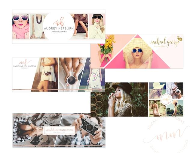 Photography Facebook Cover Blog Header BUNDLE, Cover Rose Gold Set Collage Photoshop, Branding Kit, Social Media